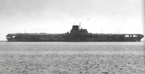 Shinano Japanese Aircraft carrier in 1944 during sea trials.