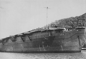 Imperial Japanese Army escort carrier Kumanu Maru in January 1945.