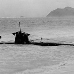 Midget class submarine no.19 grounded on Oahu beach.
