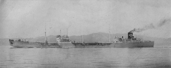 The third sister ship: Iino Lines oiler Ryuho Maru (former Imperial Japanese Navy Type Toku-1TL wartime standard ship Daiju Maru).