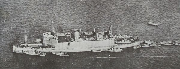 Aerial view of the Imperial Japanese Army landing vehicle carrier Shinshu Maru in 1938.