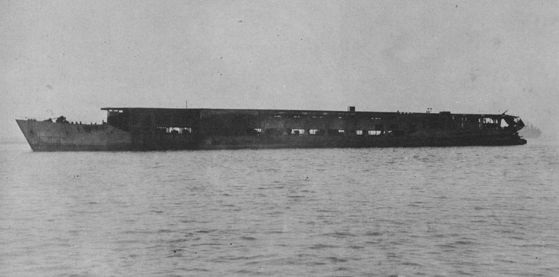 The escort aircraft carrier Yamashio Maru in 1945 after completion. She was operated by the Imperial Japanese Army.