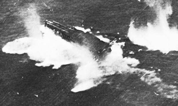 Chitose light carrier being bombed in Leyte Gulf battle in 1944.
