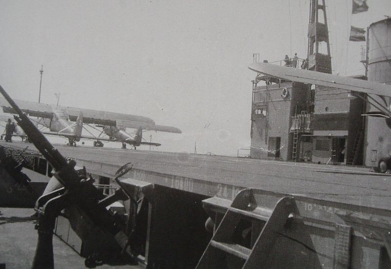 Ki-76 search planes taking off from Akitsu Maru flight deck in 1944.