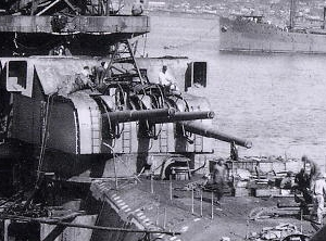 Detail of the 15.5 cm/60 3rd Year Type naval gun aboard Yamato.