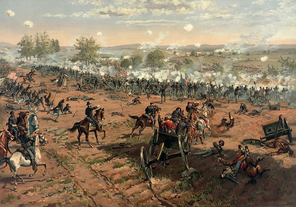 "L. Prang & Co. print of the painting ""Hancock at Gettysburg"" by Thure de Thulstrup, showing Pickett's Charge. Restoration by Adam Cuerden."
