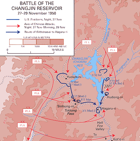 Map of the Battle of the Changjin (Chosin) Reservoir