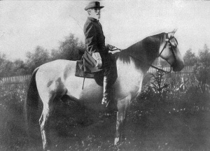 "General Robert E. Lee mounted on Traveller, his famous ""war horse""."