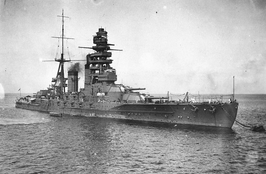 Nagato at anchor, around 1924