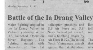 Newspaper on the  Ia Drang battle.