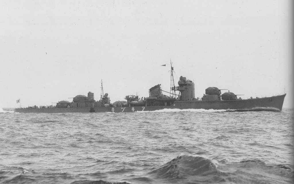 Imperial Japanese Navy Destroyer Akizuki (Akizuki-class) on trial run off Miyazu Bay.