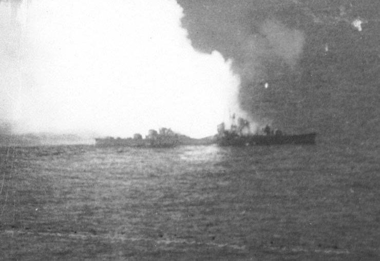 Akizuki explodes during the Battle of Cape Engaño