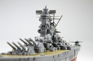 Close up image of the Battleship Yamato at 1/700 scale from the Next Fujimi series.
