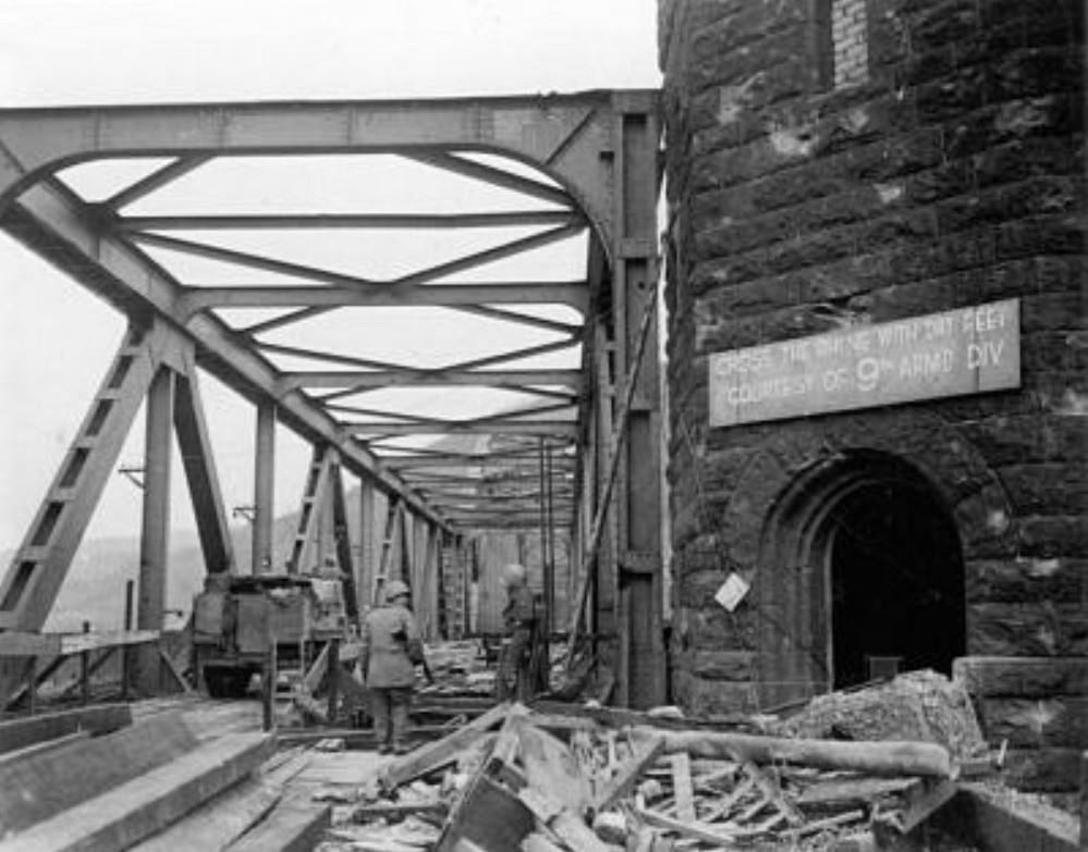 The Remagen Bridge captured by American forces. Few days later,  however, the structure collapsed.