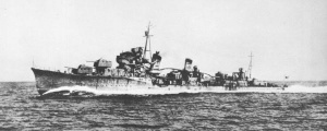 Imperial Japanese Navy destroyer Nenohi (Hatsuharu-class) as initially built on full speed trial at Tokyo Bay.