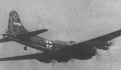 The first Boeing B-17 Flying Fortress bomber operated by German forces, in KG 200 markings.