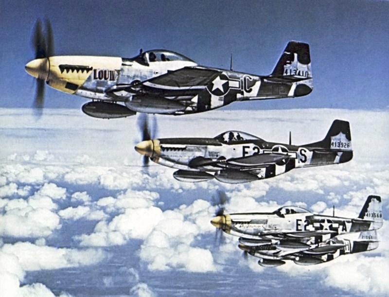 P-51 Mustang Squadron from 8th Air Force over Europe in 1944.