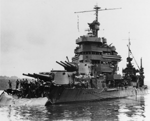 Minneapolis in December 1942,  after damaged in the Battle of Tassafaronga